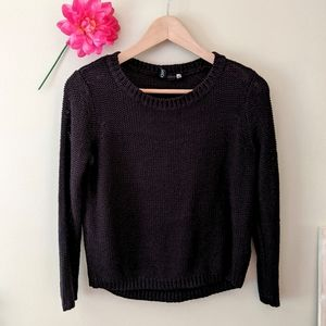 black loose knit pullover sweater